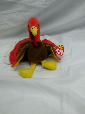 1996 Ty Beanie Baby Gobbles Turkey Bird Stuffed Plush Animal Toy