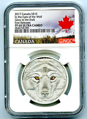 2017 Canada $15 Silver Ngc Pf69 Ucam Glow In The Dark Eyes Of The Wolf Fr Rare !