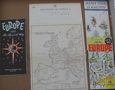 Vintage 1950's Europe Travel Tourist Brochures Lot (3) & Map/Itinerary- Brownell