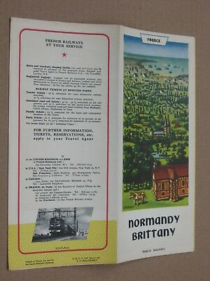 Vintage 1953 French Railroad Travel Map Brochure - Normandy Brittany, France