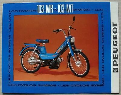 PEUGEOT 103 MR & 103 MT MOPEDS 50cc Sales Specification Leaflet Mid 1980s FRENCH