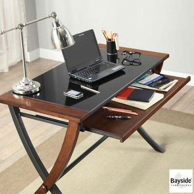 Vintage Style Computer Desk Solid Wood Keyboard Tray Glass Office Workstation