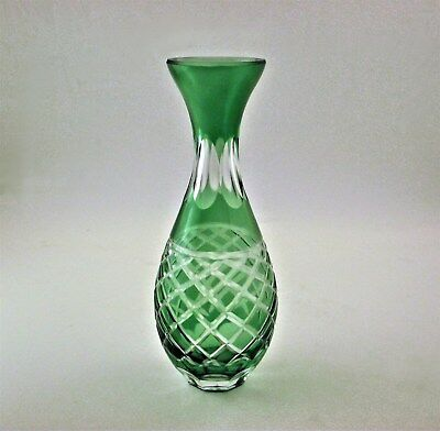 Green Cut To Clear Glass Bud Flower Vase Pineapple Pattern - Ships Free