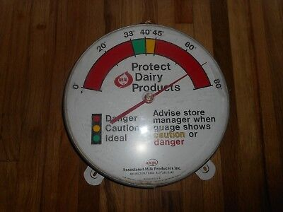 Vintage AMPI DAIRY REAL MILK Protect Products Advertising Thermometer SIGN