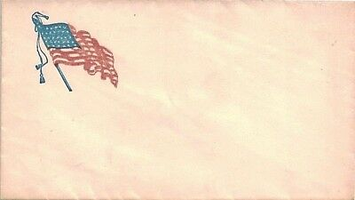 Unused Civil War Patriotic Cover with a Crisp and Colorful Wavy Flag Cachet ~