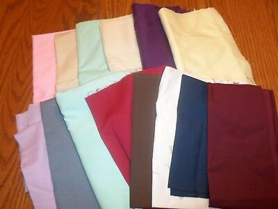 Large Lot of Assorted Fabric Pieces Solid Colors Material