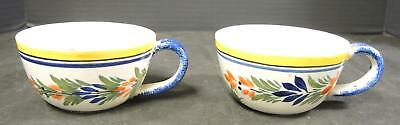 Two Antique Quimper French Faience Coffee Cups * Breton Man