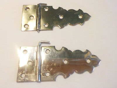 NIckel Plated Brass Hinges Early Americana Antique Original
