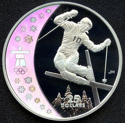 """2008 Canada $25 2010 Hologram Olympic """"Freestyle Skiing"""" (27.78 Grams .925)"""