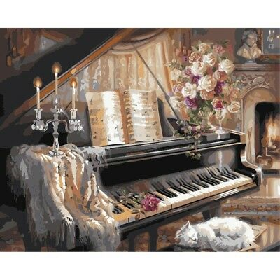 Piano DIY Paint By Numbers Kit Digital Oil Painting On Canvas Art Home Decor