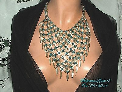 Antique Art Deco Egyptian Revival Faux Turquoise Silver Tone Charms Bib/necklace