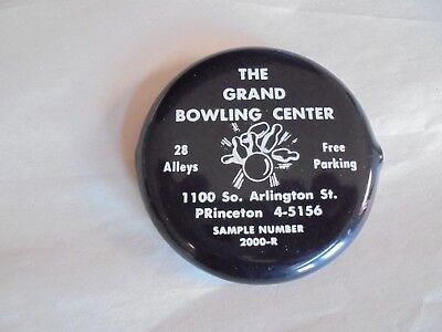 Vintage The Grand Bowling Center Princeton Advertising Vinyl Pocket Coin Holder
