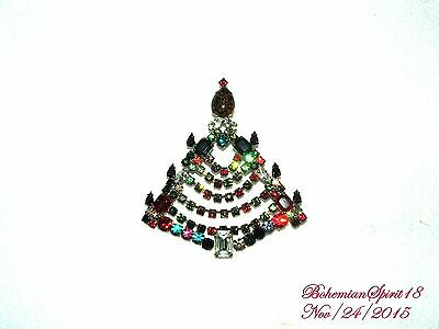 Vintage Christmas Tree Bohemia Czech Glass Rhinestone Old /new Stock Brooch/pin