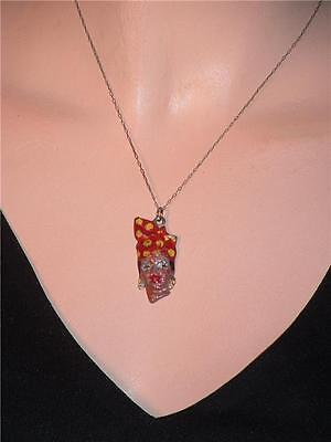 Vintage Antique Victorian African Lady Silver Enamel Pendent Necklace