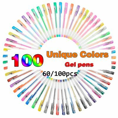 60/100Pcs Colorful Gel Pen Set for Coloring Books Glitter Drawing Colored Pen