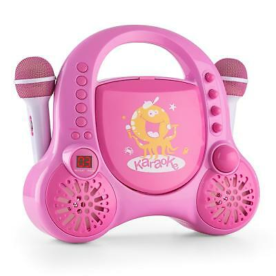 Machine Karaoke Chanter Ludique Rose Enfant Jeu Lecteur Cd 2 Micros Autocollants