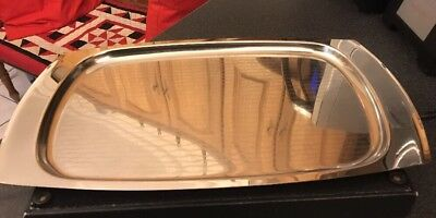Vintage Olde Old Hall Retro Mid-Century Stainless Steel Patterned  Tray - F