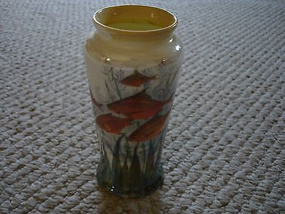Royal Doulton hand painted flower vase gold fish koi green seaweed yellow trim