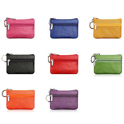 Fashion Women Men PU Leather Mini Wallet Card Key Coin Holder Zip Purse Bag Gift
