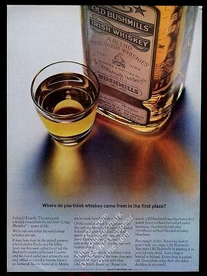 1963 Old Bushmills Irish Whiskey bottle and shot glass photo vintage print ad