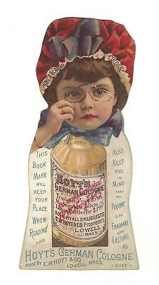 Old Trade Card Bookmark Hoyt's German Cologne Hoyt Lowell MA Rubifoam Teeth