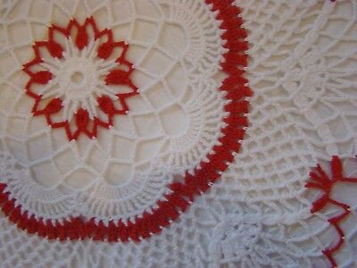 """Vintage Large Crochet Doily Red and White 18"""" Across for Valentines Day"""