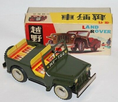 Vintage Tin Friction Jeep / Land-Rover made in Red China, MIB MF 722 Army