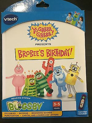 Bugsby Reading System Book Yo Gabba Gabba vtech BROBEE'S BIRTHDAY NEW