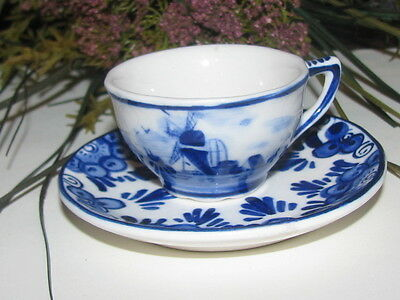 ~VINTAGE Miniature DELFTS BLUE China Cup & Saucer REVERSE WINDMILL Holland~