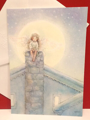 Becky Kelly Christmas Greeting Card Angel Girl Fairy Moonlight Hallkmark Unused