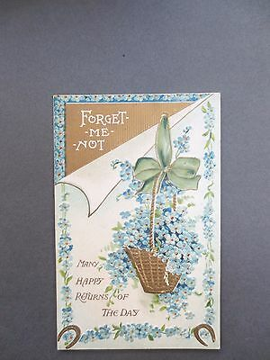 ANTIQUE Postcard BIRTHDAY Embossed Basket of Forget Me Nots Birn Brothers 1913