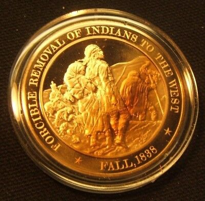 Franklin Mint Solid Bronze Medal 1838 TRAIL OF TEARS Cherokee Indians