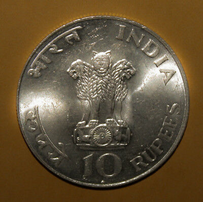 India 10 Rupees ND (1969) Brilliant Uncirculated Silver Coin - Mahatma Gandhi