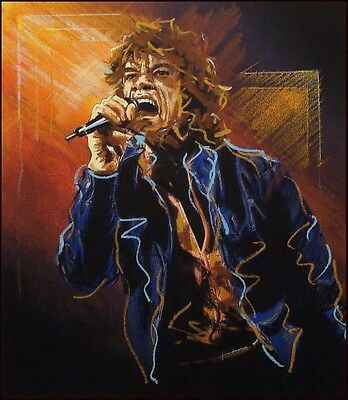 """Ronnie Wood """"Study For Mick II"""" SOLD OUT Mick Jagger, Hand Signed Artwork"""