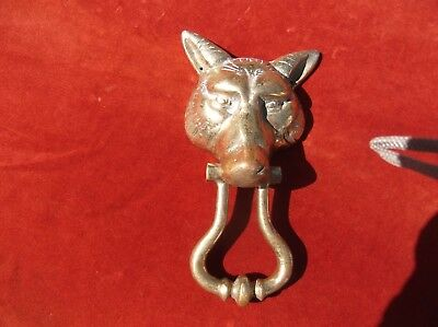 Antique Large Very Heavy Brass Fox Door Knocker/wild Animal Door Striker