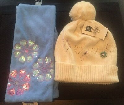 Gap Kids Girls Blue Sparkle Snowflake Scarf & White S / M Hat NEW