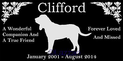 "Personalized Bloodhound Dog Pet Memorial 12""x6"" Granite Grave Marker Headstone"