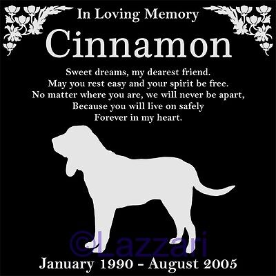 "Personalized Bloodhound Dog Pet Memorial 12""x12"" Granite Grave Marker Headstone"
