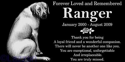 Personalized Rhodesian Ridgeback Dog Pet Memorial 12x6 Granite Grave Marker