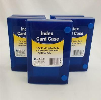 "Lot of 5 C-LINE Poly Index Card Cases Holds 100 3"" x 5"" Cards (Blue)"