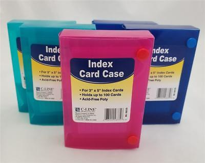 "Lot of 5 C-LINE Poly Index Card Cases Holds 100 3"" x 5"" Cards Pink 2 Blue 2 Teal"