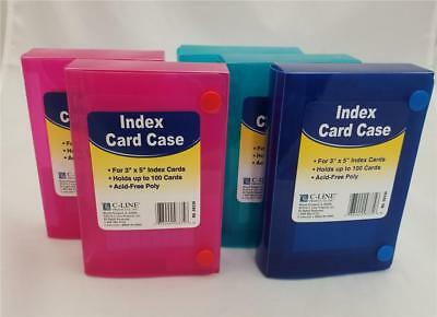 "Lot of 5 C-LINE Poly Index Card Cases Holds 100 3"" x 5"" Cards Blue 2 Teal 2 Pink"