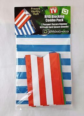 Identity Stronghold RFID Blocking Combo Pack 2 Passport & 10 Credit Card Sleeves