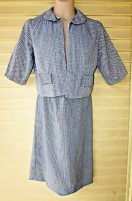 Vtg 50s Blue Gingham Rockabilly Party Crop Jacket Top Pencil Wiggle Skirt S SET