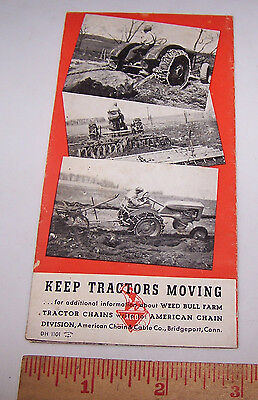 Vintage WEED BULL FARM TRACTOR CHAINS Pamphlet with Prices - Patent Date 1924