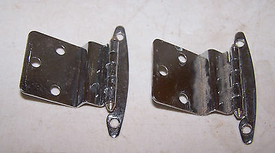 2 Vintage Chrome Cabinet Door Hinges - 1950's 1960's Step Down Up Art Deco