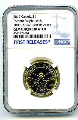 2017 Canada $1 Toronto Maple Leafs Leaf Ngc Gem Unc Dollar Loon Loonie Fr Blue