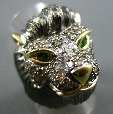 Antique Large 2.39Ct Color Diamond & Emerald 18Kt Yellow & Black Gold Lion Ring