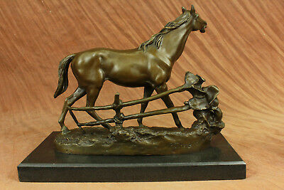 Close Out Hot Cast Arabian Mere Next to a Fence Bronze Sculpture Figurine