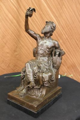 Close Out Bronze Metal Statue Figure Musician Playing Ancient Music Greek Roman